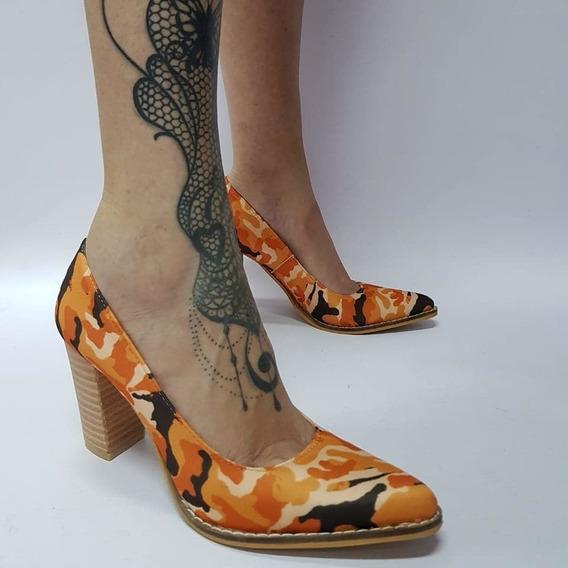 Stiletto Camuflado Tono Naranja Stampa Woman