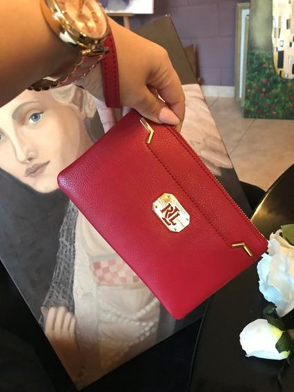 Ralph Lauren Cartera Acadia Case Wallet Red Leather Wristlet