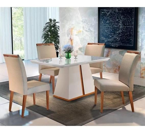 Conjunto De Mesa De Jantar Liz Com 4 Cadeiras Ciana Linho Of
