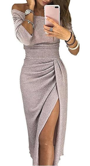 Vestido Brillante De Noche Sexy Con Tajo Lateral