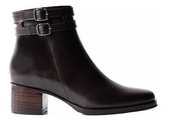 Botineta Cuero Mujer Briganti Bota Vestir Zapato - Mcbo24851