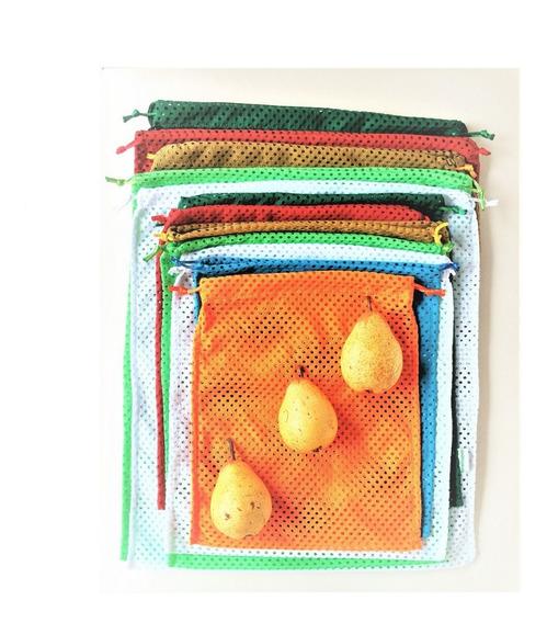 Kit 12 Saquinhos Sustentável Ecológico Tecido Legumes Frutas Verduras Frete Barato