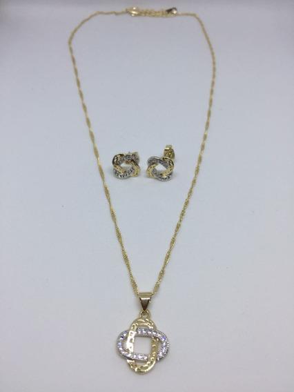 Hermoso Conjunto Cadena Y Aretes Bañada En Oro De 18k.