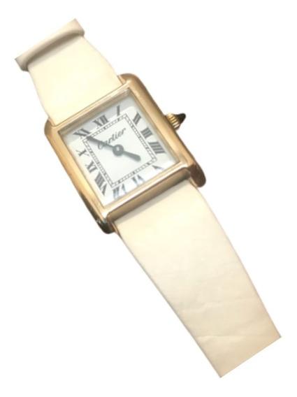 Relógio Cartier Tank Pulseira De Couro Branco
