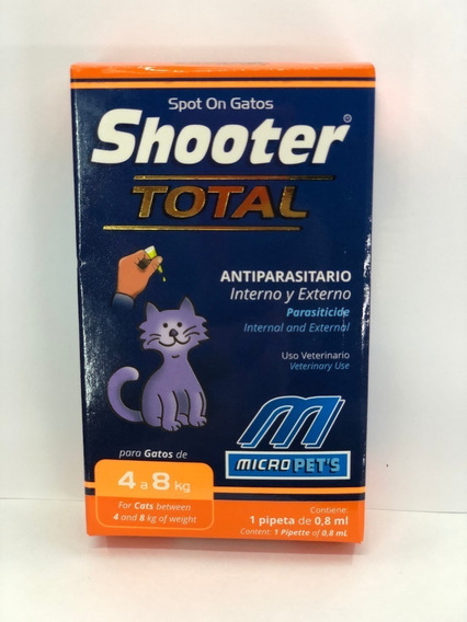 Pipeta Shooter Gatos 4-8k Parásitos Internos Y Externos0,8ml