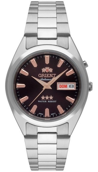 Relogio Orient Automatico Masculino Prata Marrom 469ss084 N1