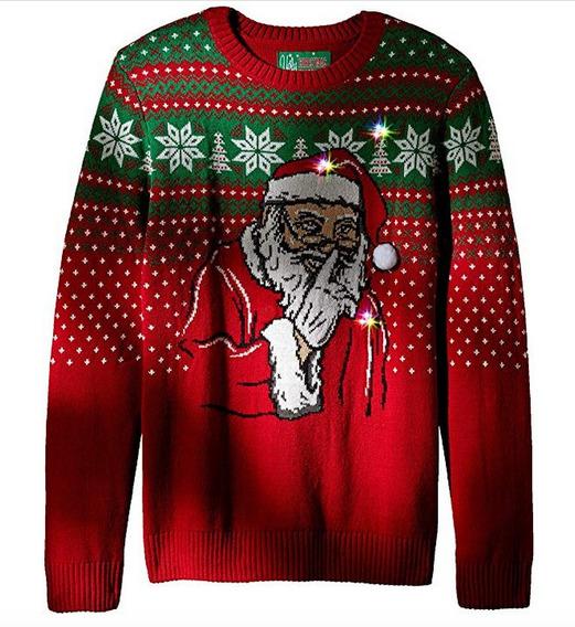 Sweater Navidad Mujer Ugly Sweater Unisex Santa Con Luzled