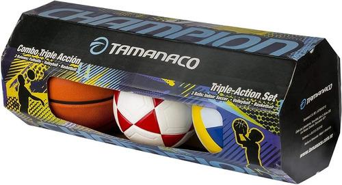 Tamanaco Kit De Balon Futbolito Basquet Volleyball Original