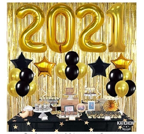 Kit Set Decoración Año Nuevo 2021 Dorado Metalizado