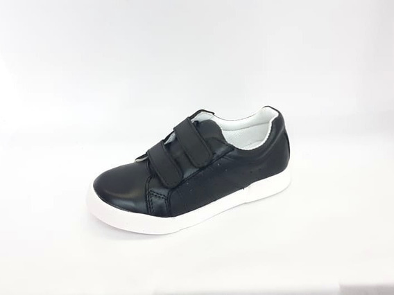 Zapatilla Zapato Vestir Colegial Cuero Negro Abrojos Niño