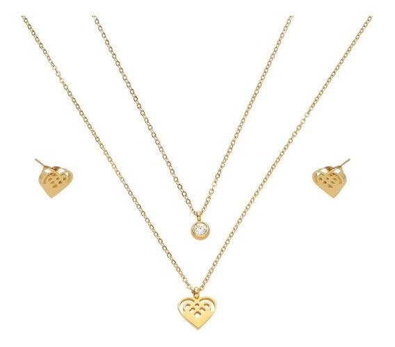 Collar Y Aretes Corazón Con Cristal | Acero Inoxidable