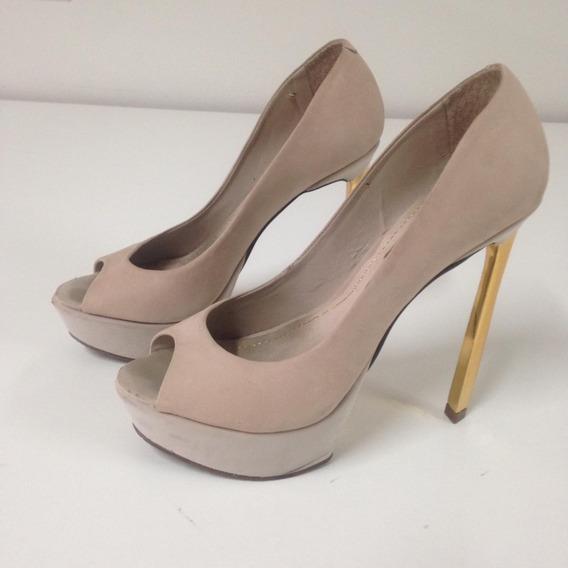 Sapato Peep Toe 35 Dumond Nude Salto Dourado Até 12x S/juros