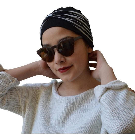 Turbantes Oncologicos / Gorro Oncologico Modelo Dot Negro