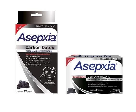 Pack Asepxia Carbón Detox Jabón Barra + 12 Parches