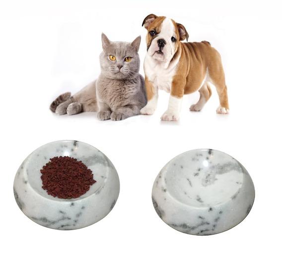 Comedouro E Bebedouro Cachorro E Gato Em Mármore Branco