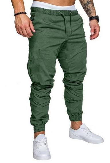 Pantalones Hombre Jogger Liso Casual Elastizado Gabardina