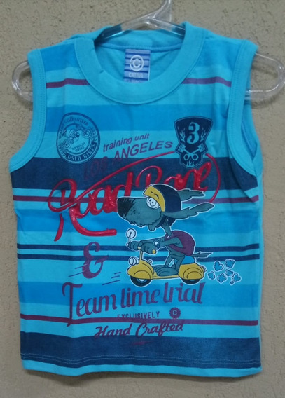 Camiseta Regata Infantil Para Bebe Menino Tamanho-3