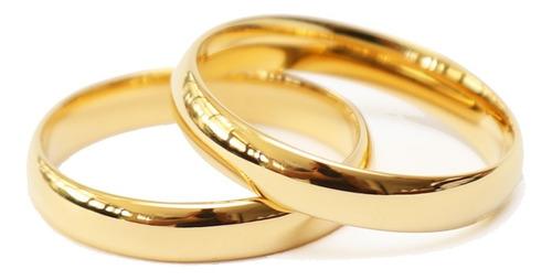 Par De Alianças Ouro 18k Banhada Casamento Tungstênio 4mm