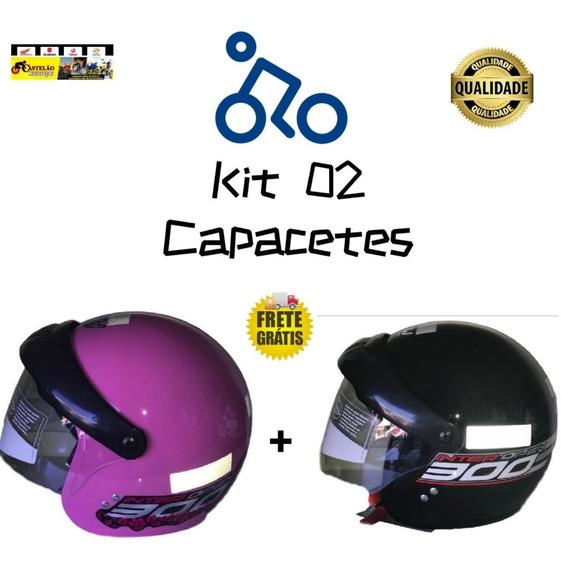 Kit 02 Capacetes Gow Aberto Com Viseira Preto E Rosa