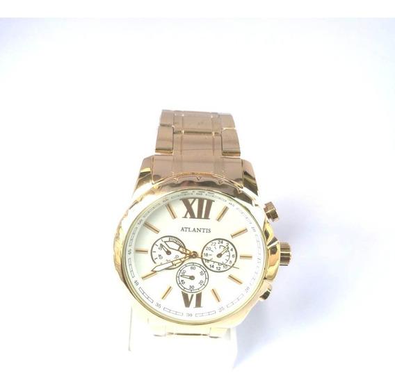 Relógio Dourado Feminino Atlantis Original