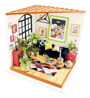 Casa Armable Miniatura De Madera Con Led Sala De Estar 20 Cm