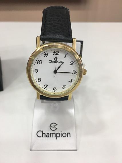 Relógio De Pulso Champion Ch22162 Dourado E Branco Couro