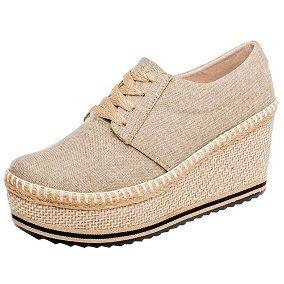 Zapato De Plataforma Beige (casual)