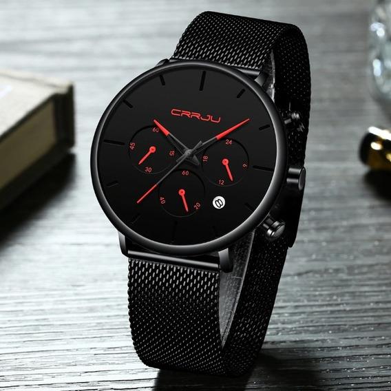Relógio Masculino Inoxidável Vermelho Fino Social Promoção