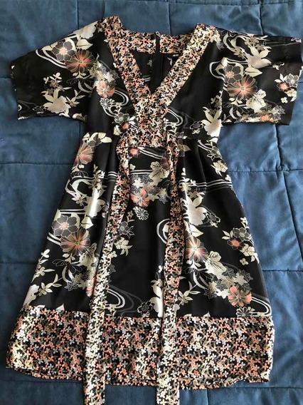 Hym Vestido Estilo Kimono De Saten Talle Us4 Impecable