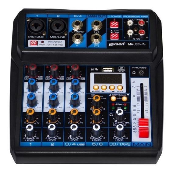 Mesa De Som Mixer Lexsen M6 6 Canais Mp3 Bluetooth