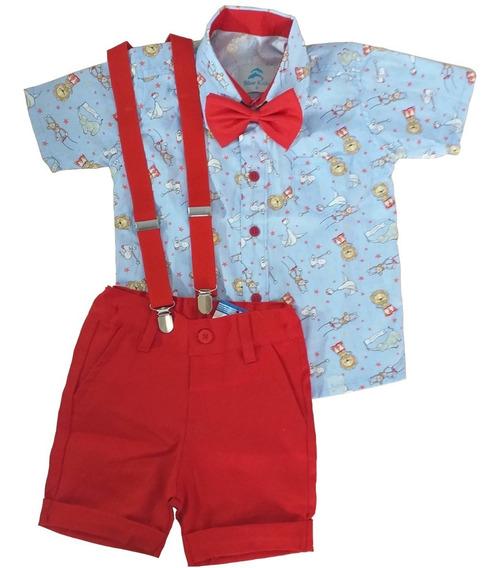 Roupa Festa Infantil Circo Aniversário Camisa Social Temática Bermuda, Suspensório E Gravata Menino