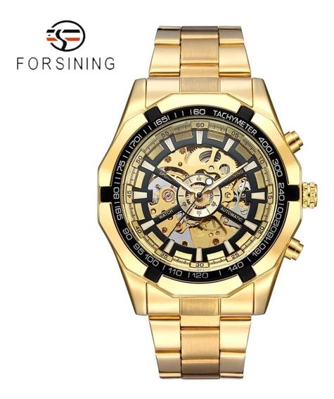Relogio Forsining Automatico Dourado Eskeleton Envio Rapido