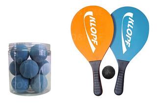 Kit Frescobol Par De Raquetes + Pote Com Bolas Klopf 3510