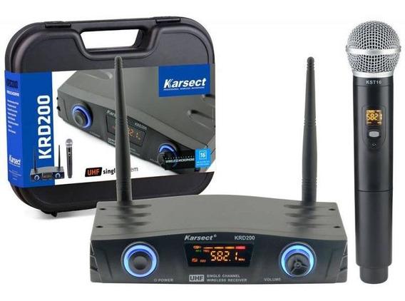 Microfone De Mão Sem Fio Karsect Krd200sm - Uhf