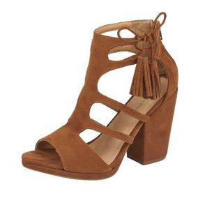 Zapatillas De Tacon 11cm Casual Camel Para Dama 016114 Tp19