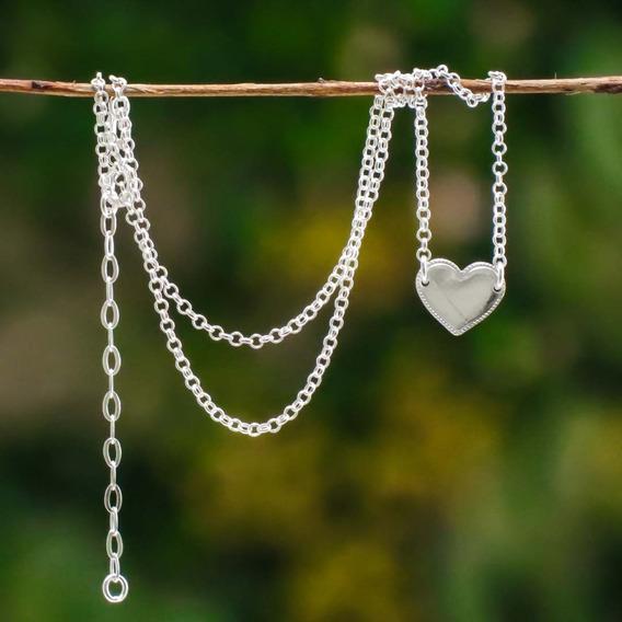 Colar Coração Liso Prata 925 ( Grátis Uma Flanela Limpa Prata )
