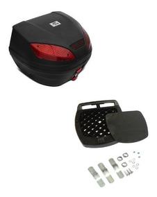 Baú Bauleto Smart Box Moto 30 Litros Preto Com Suporte