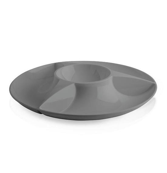 Petisqueira 3 Compartimentos Preto Cozinha Petiscos Molho