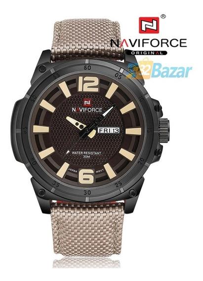 Relógio Masculino Militar Naviforce Original Caqui Promoção