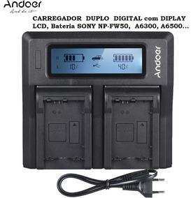 Carregador Duplo Lcd Bateria Sony Np-fw50, A6300, A6500