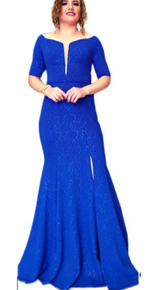 Vestido Festa Longo Azul Royal Festa Bordado Vestidos
