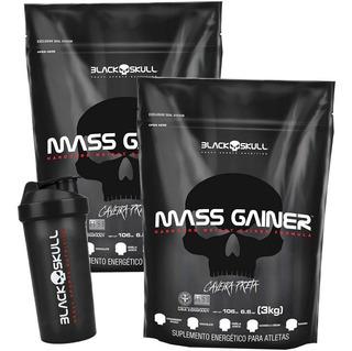 Kit 2x Hipercalórico Mass Gainer 3kg + Shaker - Black Skull