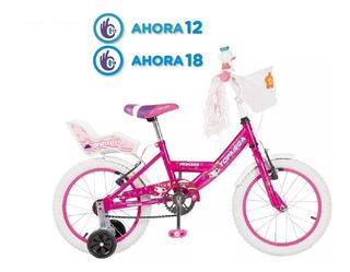 Bicicleta Rodado R16 Bmx Nena Rosa Princes Top Mega Rueditas