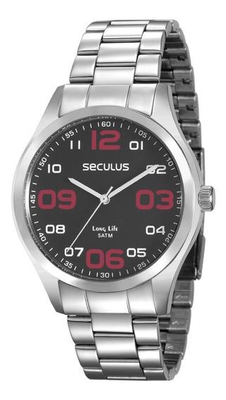 Relógio Seculus Masculino Prateado Analogico 28857g0svna1