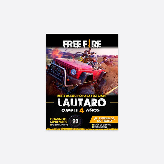 Free Fire Invitacion Digital Tarjeta Virtual Personalizada