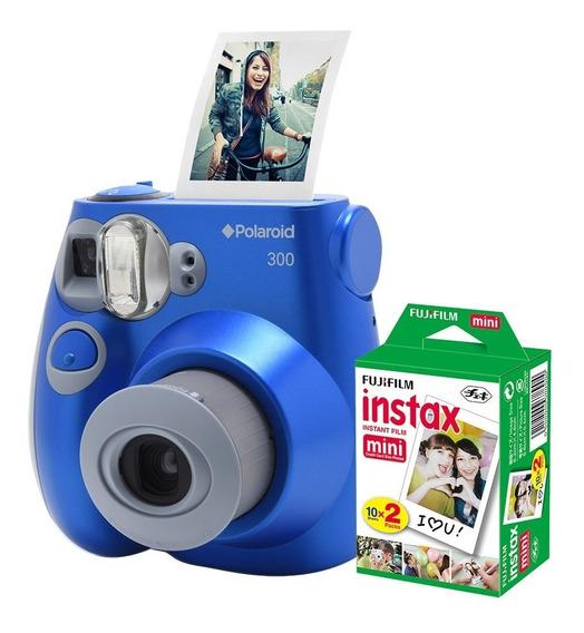 Câmera Polaroid Instantânea Pic 300 Azul C/ Filme 20 Poses