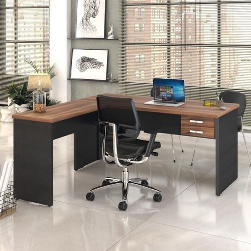 Mesa Para Escritório Em L 1,60x1,60m Tampo E Pés 30mm C/gav.