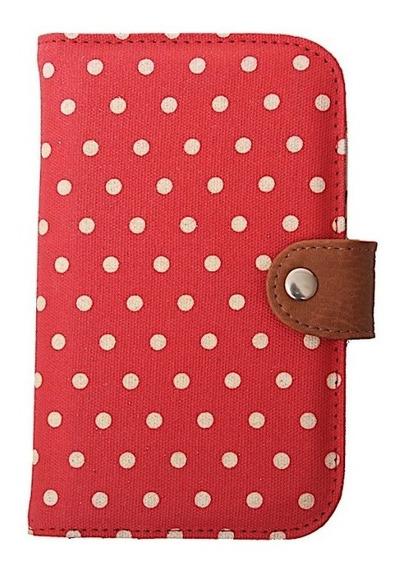 Billetera Tarjetero Mujer Matriona Pocket Rojo Lunar Tela