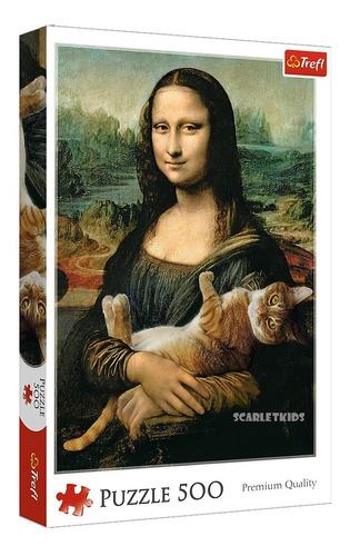 Puzzle Rompecabezas 500 Piezas Trefl Mona Lisa Con Gato