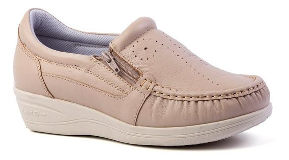 Mocassim Feminino Anabela 200 Em Couro Ostra Doctor Shoes